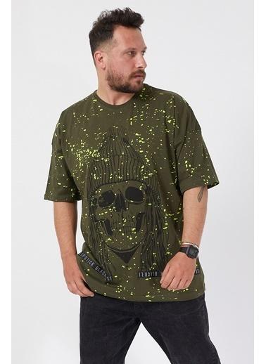 XHAN Haki Baskılı Boyalı Oversize T-Shirt 1Kxe1-44596-09 Haki